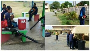 limpieza de escuela por bomberos